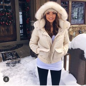 Abercrombie and Fitch Cream Puffer Jacket